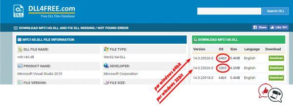 dove scaricare il file mfc140.dll