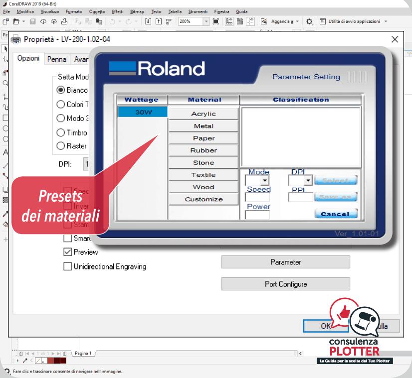 Driver taglio e incisione Roland Serie LV-290