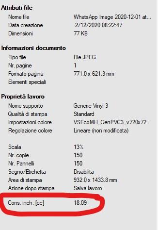 Calcolo consumo inchiostro VersaWorks